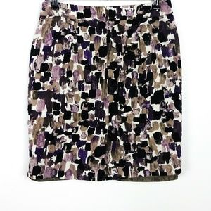 Ann Taylor Women's Skirt Pencil Geometric Zip Mini